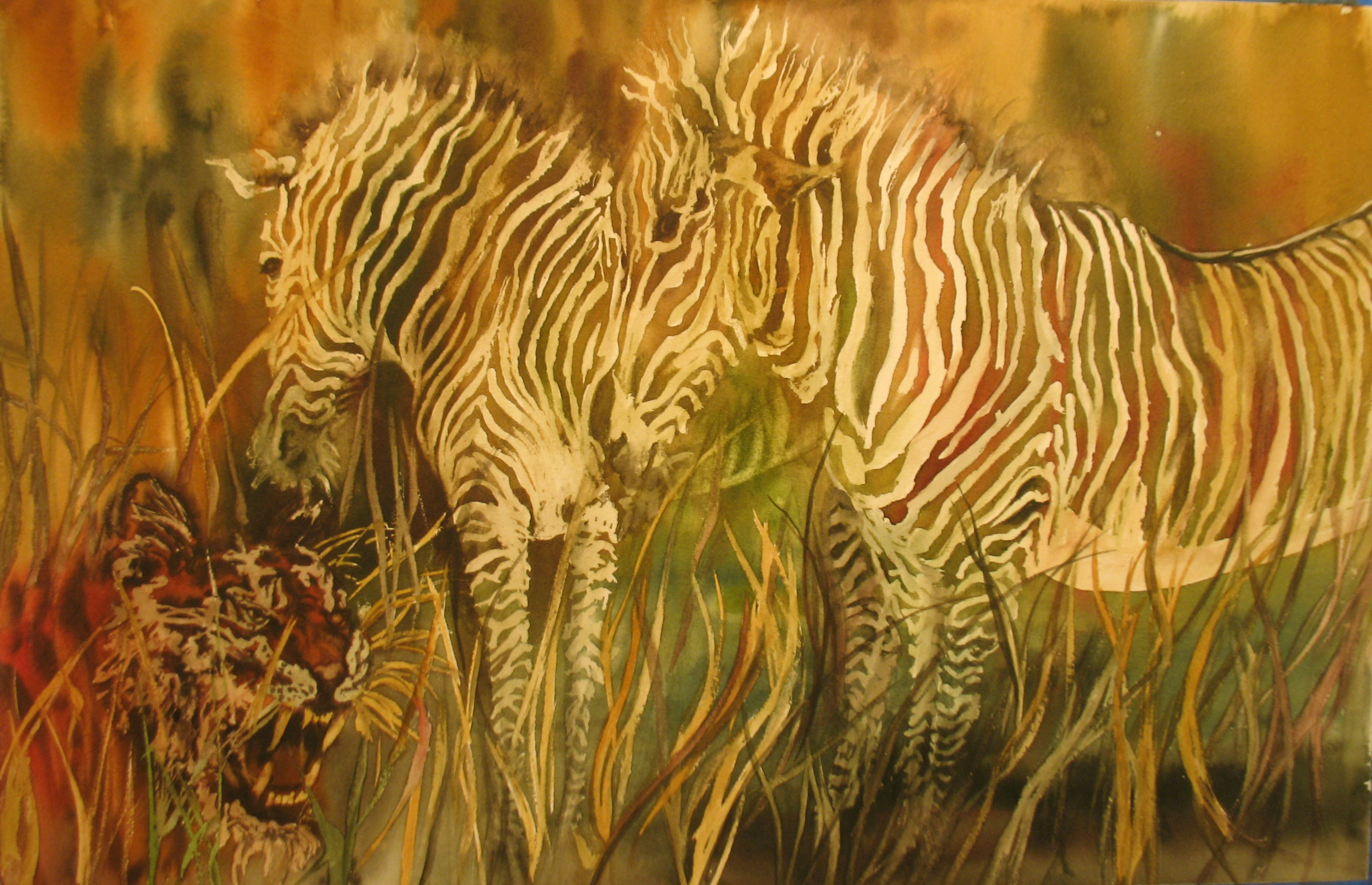 African Stripes, Watercolor,  19 1/2 x 26, $350.00