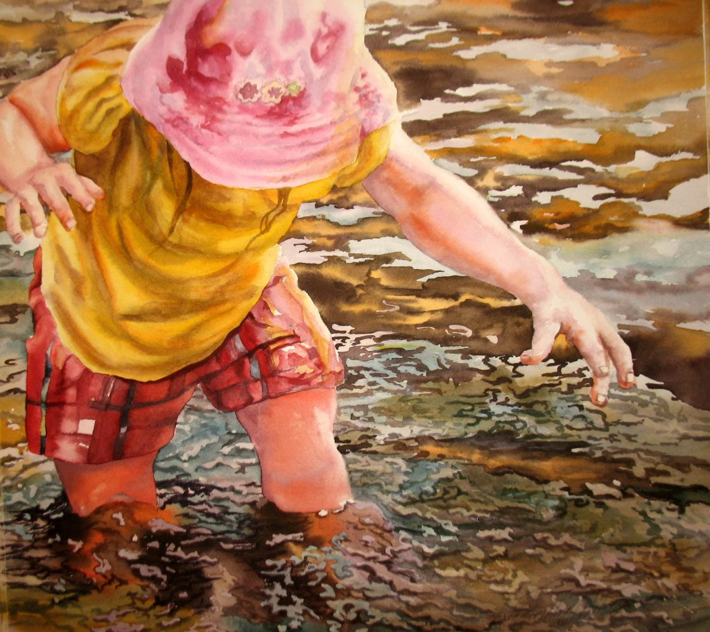 wading in the water