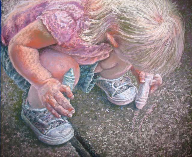 Sidewalk Artist, Pastel,