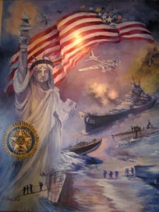 The first part of American Legion Mural, St. Charles, MO, show the beginning of the American Legion, WWII, Korean War, Vietnam War, Gulf and Afghanistan Wars.  Overall size 5.5' x 36'.